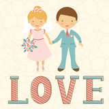 Cute wedding couple Royalty Free Stock Photo