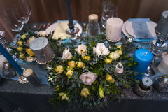 Cute wedding decor cookies, fountain royalty free stock photos