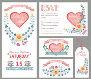 Cute wedding design template set.Floral decor Stock Images