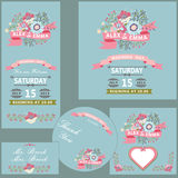 Cute wedding design  template set with flowers Stock Images