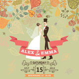 Cute wedding invitation with bride,groom,autumn Stock Photos