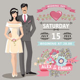 Cute wedding invitation with bride, groom, floral elements Royalty Free Stock Photos