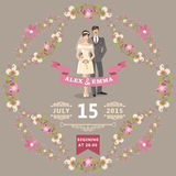 Cute wedding invitation with bride, groom, floral  Royalty Free Stock Images