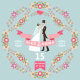 Cute wedding invitation with bride, groom,floral wreath.eps Stock Image