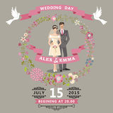 Cute wedding invitation with bride , groom , floral wreath Stock Image