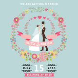 Cute wedding invitation with bride , groom , floral wreath Royalty Free Stock Image