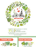 Cute wedding invitation.Bride, groom,green leaves Stock Photos