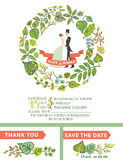 Cute wedding invitation with bride, groom ,green Royalty Free Stock Images