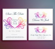 Cute wedding invitation card with floral heart. Illustration Stock Photo