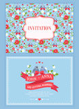 Cute wedding invitation card with floral pattern Stock Photography