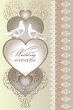Cute wedding invitation card with  heart Royalty Free Stock Photography