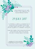 Cute wedding invitation card template with hand-drawn floral elements and branches. Stylish simple design. Vector Royalty Free Stock Photo