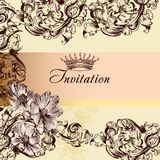 Cute wedding invitation card in vintage style Stock Image