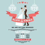 Cute wedding invitation with cartoon bride and groom Stock Photos