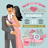 Cute wedding invitation with  floral element, bride, groom Stock Photography