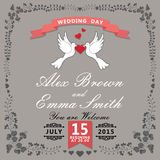 Cute wedding invitation.Floral items and cartoon pigeons.Vintage Stock Image