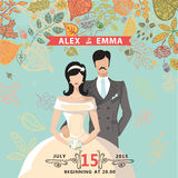 Cute wedding invitation with groom,bride,autumn Stock Image