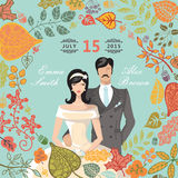 Cute wedding invitation with groom,bride,autumn Royalty Free Stock Images