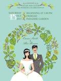 Cute wedding invitation with groom,bride,green Stock Photos