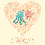 Cute wedding invitation with jellyfish. Stock Image
