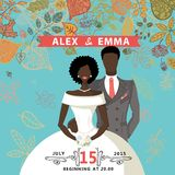 Cute wedding invitation.Mulatto groom,bride,autumn Royalty Free Stock Images