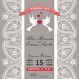 Cute wedding invitation.Paisley border lace,cartoon pigeons.Vint Royalty Free Stock Photography