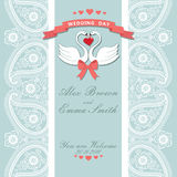 Cute wedding invitation.Paisley border lace,cartoon swans.Vintag Stock Photography