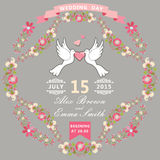 Cute wedding invitation with pigeons and floral frame Stock Images