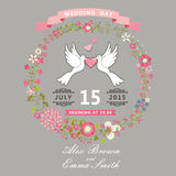 Cute wedding invitation with pigeons and floral wreath Royalty Free Stock Photography