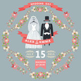 Cute wedding invitation with retro wedding wear, floral frame Royalty Free Stock Image