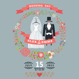 Cute wedding invitation with retro wedding wear, floral wreath Royalty Free Stock Photo