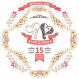 Cute wedding invitation with stylized heart and floral frame Stock Images