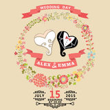 Cute wedding invitation with stylized heart and floral wreath Stock Images