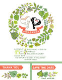 Cute wedding invitation with stylized heart,green Stock Photo