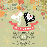 Cute wedding invitation with stylized heart , Royalty Free Stock Photos