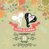 Cute wedding invitation with stylized heart ,