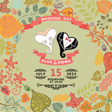 Cute wedding invitation with stylized heart , Stock Images