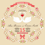 Cute wedding invitation with swans and floral frame Stock Photography