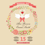 Cute wedding invitation with swans and floral wreath Royalty Free Stock Images