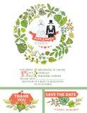 Cute wedding invitation.Wedding garment,green Royalty Free Stock Images