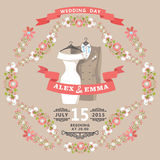 Cute wedding invitation with wedding wear and floral frame Stock Image