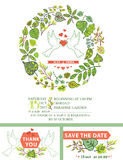 Cute wedding invitation.White pigeons,green leaves Stock Photography