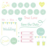 Cute wedding items for invitations Stock Image