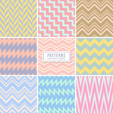 Cute wedding pink seamless vector patterns. Stylish background with zigzag lines. Colored zigzag pattern of set, illustration of vintage zig zag seamless Vector Illustration