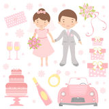 Cute wedding set Royalty Free Stock Images