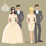 Cute wedding set of cartoon bride and groom Royalty Free Stock Photos