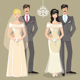 Cute wedding set of cartoon couple bride and groom Royalty Free Stock Photography