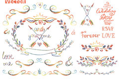 Cute wedding template kit.Floral Decor element Royalty Free Stock Image