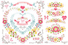 Cute wedding template set.Decor element,floral Stock Images