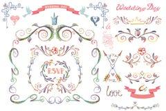 Cute wedding template set.Floral Decor element Stock Images